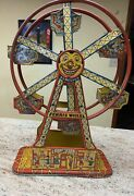 Authentic 1930s J Chein And Co Usa Hercules Tin Wind Up Toy Ferris Wheel W/ Key.