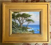 David Chapple Nfl Football Monterey Cypress Oil Painting Gold Frame Signed 8 X10
