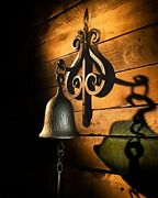 Dinner Bell, Cast Iron Design, Featured On An Antique Vintage Rustic Farmhouse