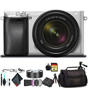 Sony Alpha A6300 Mirrorless Camera +18-135mm Lens Silver Ilce-6300m/s +soft Bag