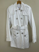 Calvin Klein Womens Coat Size Xs Small White Belted Chic Modern Peacoat Jacket