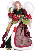 Elegant Rosy Red Holly Gown Angel 16 Inch Decorative Tree Topper 16