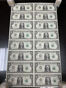1999 The United State America 1 Star Note Uncut Sheet Note Of 16