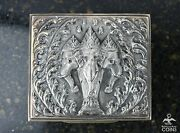 Antique Siam Sterling Silver Wood Oriental Elephant Design Tobacco / Jewelry Box