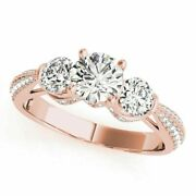 Womenand039s Moissanite Engagement Rings Round Cut 1.63 Ct 14k Rose Gold Size 6 7 8 9