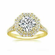Round Cut 1.75 Ct Real Moissanite Engagement Rings 14k Yellow Gold Size 6 7 8