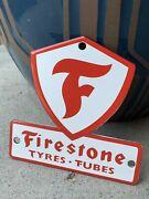 Firestone Tires Die-cut Vintage Style 5andrdquo Small Oil Porcelain Gas Sign