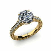 0.75 Ct Round Cut Real Diamond Engagement Rings 14k Solid Yellow Gold Size 6 7.5