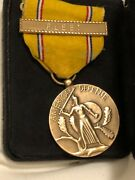 Original Wwii American Defense Service Medal With Fleet Clasp -sewn Slot Brooch