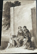Small Drawing 19th Watercolour C.1850's Scene Animated Kids Childrens Signed