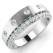 0.74 Ct Real Moissanite Stone Men's Engagement Rings 14 K Solid White Gold Bands