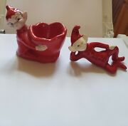 2 Red Gilner Pottery Elf Pixie Brownie Egg Cup Sprites Vintage 1950and039s