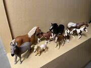 Schleich Horses And Ponies - Lot Of Ten 9 Great Condition Farm Life Animals