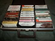 Savoy 30 Cassette Slots Carrying Case Box Holder W/tapes Vtg. Brown Old Music