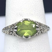 Vintage 925 Sterling Silver Ring Solitaire Peridot Gem Art Deco Style Size 7.75