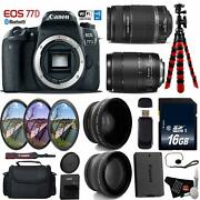 Canon Eos 77d Dslr Camera +18-135mm Is Stm Lens And 55-250mm Is Ii Lens + Uv Fld C