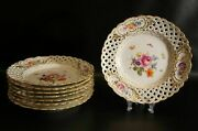 Set Of 8 Antique Meissen Plate With Flower Pattern Reticulated.