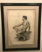19th Century Academic Male Nude Signed H.h. Armstead
