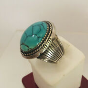 Navajo W Denetdale Signed Sterling Silver Turquoise Mens Ring Size 11 C1980s