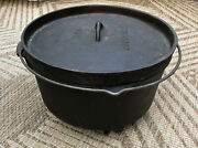 Texsport Cast Iron 3 Footed Dutch Oven W/ Lid 12 8 Quart And Sturdy Bail Handle