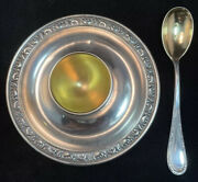 800 Silver German Egg Cup Holder W/ Attached Saucer Matching Spoon Not Sterling
