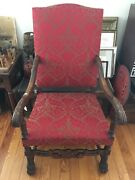 Victorian Jacobean Style Carved Claw Foot Arm Chair New Upholstery Antique Nice