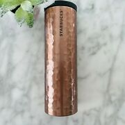 2012 Starbucks Limited Edition Troy Hammered Copper Rose Gold Tumbler 16oz Euc