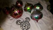 Lot Of 4 Disney Christmas Ornaments, 3 Blown Glass, 1 Silver Bejeweled Mouse Ear