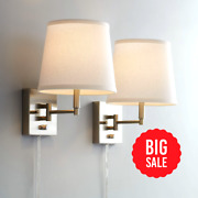Modern Swing Arm Wall Lamps Set Of 2 Brushed Nickel Plug-in Fixture For Bedroom