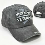 Vietnam Veteran Gray Embroidered Military Low Profile Cotton Distressed Cap Hat