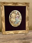 Antique French Porcelain Figurine In A Frame