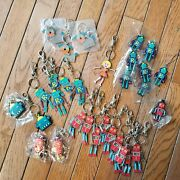Lot Of Robot Character Keychains Lanyards 30pcs Dog Anime Curly Girl Alien Link
