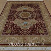 5and039x7.5and039 Handknotted Silk Area Rug Antistatic Home Decor Indoor Carpet 1120