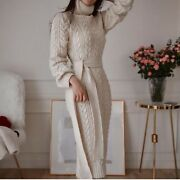 Winter Womenand039s Wool Dress Thickening Knit Dress Casual Knitted Sweater Outwear D