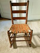 Shaker Antique Original Wood, Early 1900s Child Rocking Chair,rocks Seats Nicely