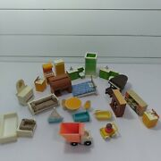 Vintage 1970s Fisher Price Doll House Furniture Lot Fp Toys Hong Kong Kitchen