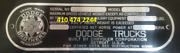 Dodge E Truck Oem Serial Data Plate Number Id Tag Vin Stamping Available