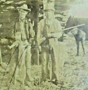 Antique Photograph Late 1800and039s Coon Dog Hunting Hunters Posing Horse Rare Photo