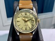 1952 Rolex 6105 Big Bubbleback Ovettone 36mm S/s And 18k Y/gold W/ Tropical Dial