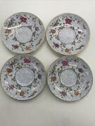 Set Of 4 Crown Staffordshire Bird Of Paradise Saucers Retired