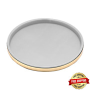 Sophisticates 14 In. White Vinyl And Polished Brass Round Serving Tray Case Of