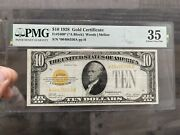 ⭐️star Note⭐️1928 10 Gold Certificate Pmg 35 Very Fine Fr2400 - Fast Shipping