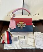 Authentic Brand New Queen Margaret Gg Leather Top Handle Bag Multicolor