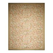 12and0391 X 18and0396 Hand Woven Palace Needlepoint Wool French Aubusson Area Rug Beige