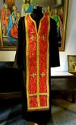 19c.antique Orthodox Priest Church Vestment Red Stole Chasuble
