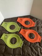 4 Vintage Plastic Paper Plate Cup Holders 70s - 2 Green 2 Orange - Picnic Trays