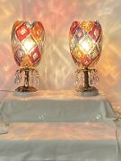 Bohemian Crystal Mantle/dresser Lamps From The 1930and039s 1940and039s.andnbsp Possible Czech.