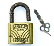 Vintage Lock And Key Royal Brass 5 Old Antique Working Collectible Locks Tools