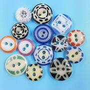 14 Antique China Sewing Buttons Different Patterns And Colors Vintage Button Lot