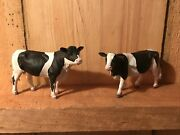 Schleich 2007 - Holstein Bull And Cow - Dairy Farm Figures Black And White